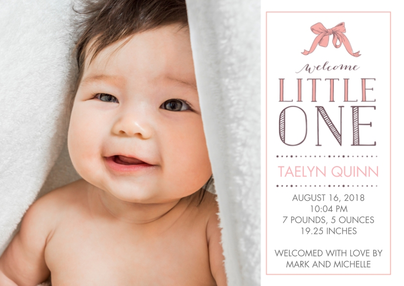 Newborn 5x7 Cards, Premium Cardstock 120lb with Elegant Corners, Card & Stationery -Welcome Little One Birth Announcement