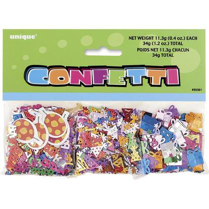 Confetti multicolore imprimé et feuille pour fête d'anniversaire, 3 paquets, 1.2oz