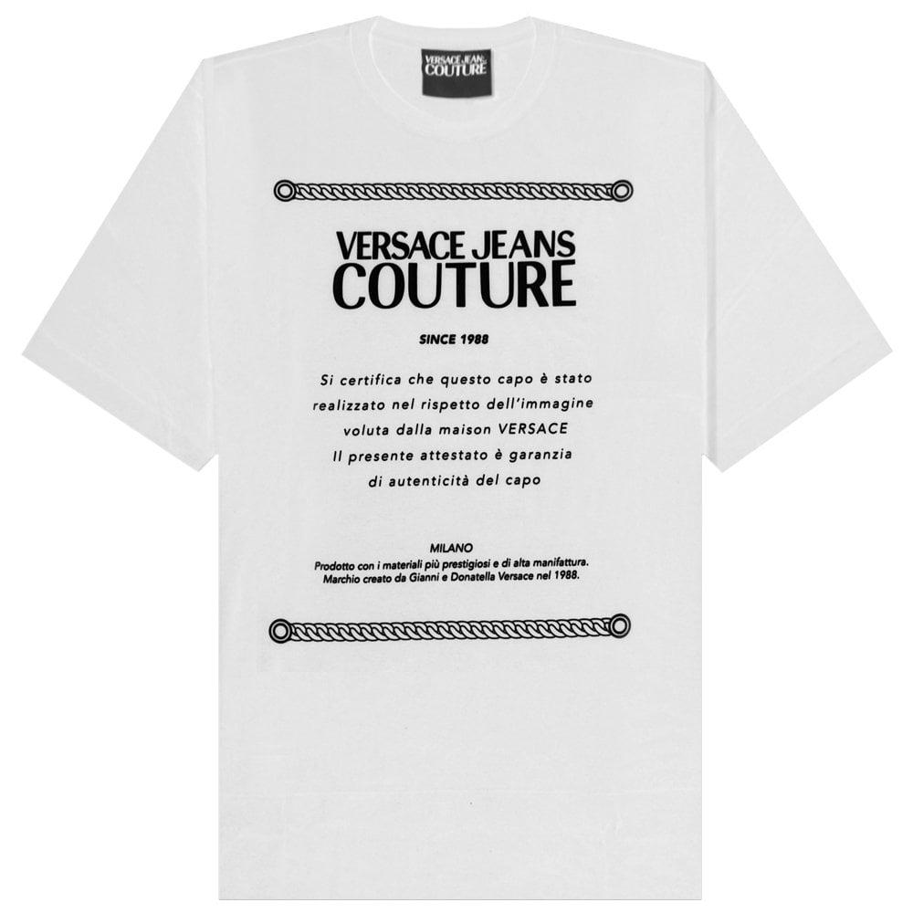 Versace Jeans Couture Logo Plaque T-shirt Colour: WHITE, Size: LARGE