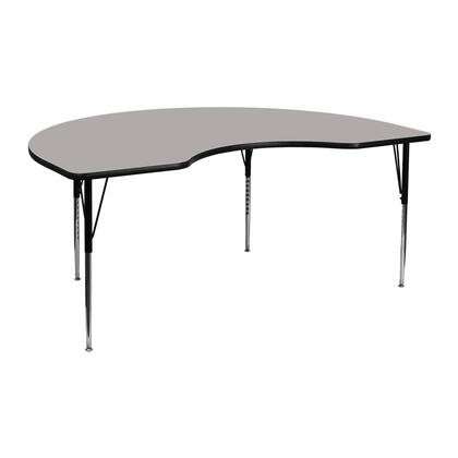XU-A4872-KIDNY-GY-H-A-GG 48W x 72L Kidney Shaped Activity Table with 1.25 Thick High Pressure Grey Laminate Top and Standard Height Adjustable