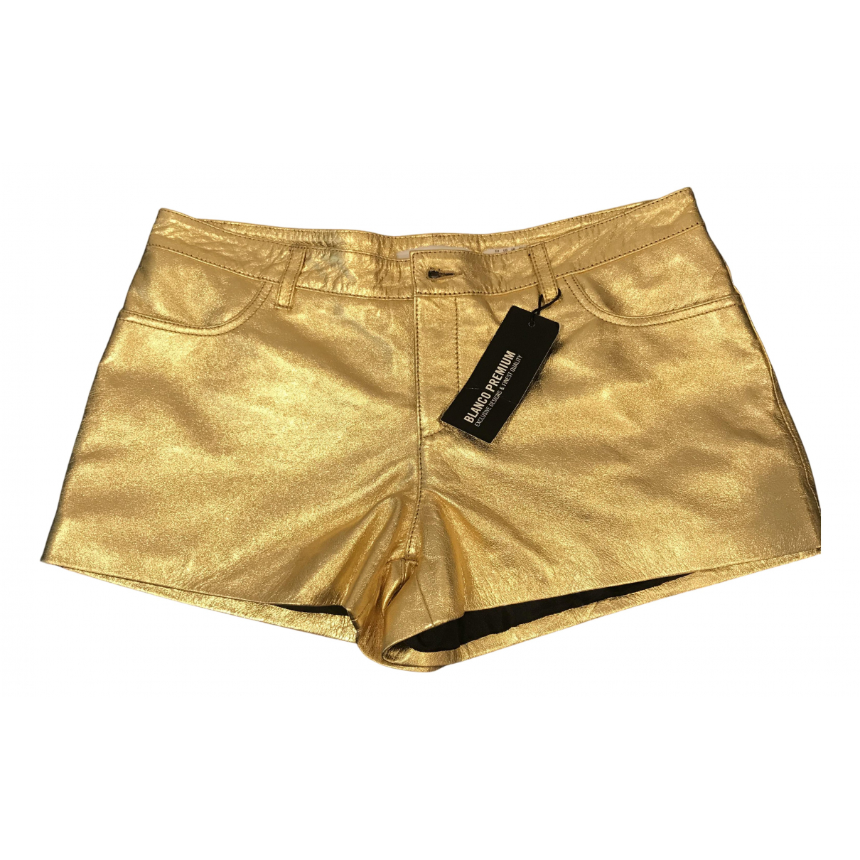 Non Signé / Unsigned N Gold Leather Shorts for Women M International