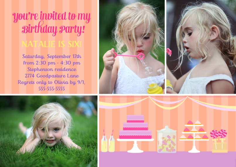 Kids Birthday Party Invites Flat Matte Photo Paper Cards with Envelopes, 5x7, Card & Stationery -Youre Invited Cakes