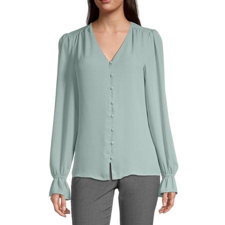 Worthington Womens V Neck Long Sleeve Blouse, Small , Green