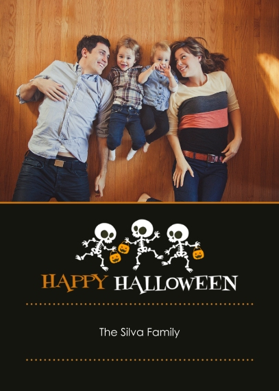 Halloween Photo Cards 5x7 Cards, Premium Cardstock 120lb with Elegant Corners, Card & Stationery -Skeleton Parade