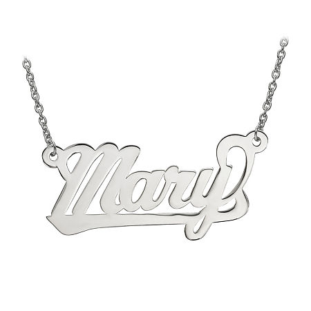 Personalized 15x29mm Aktuelle Font Name Necklace, One Size , White
