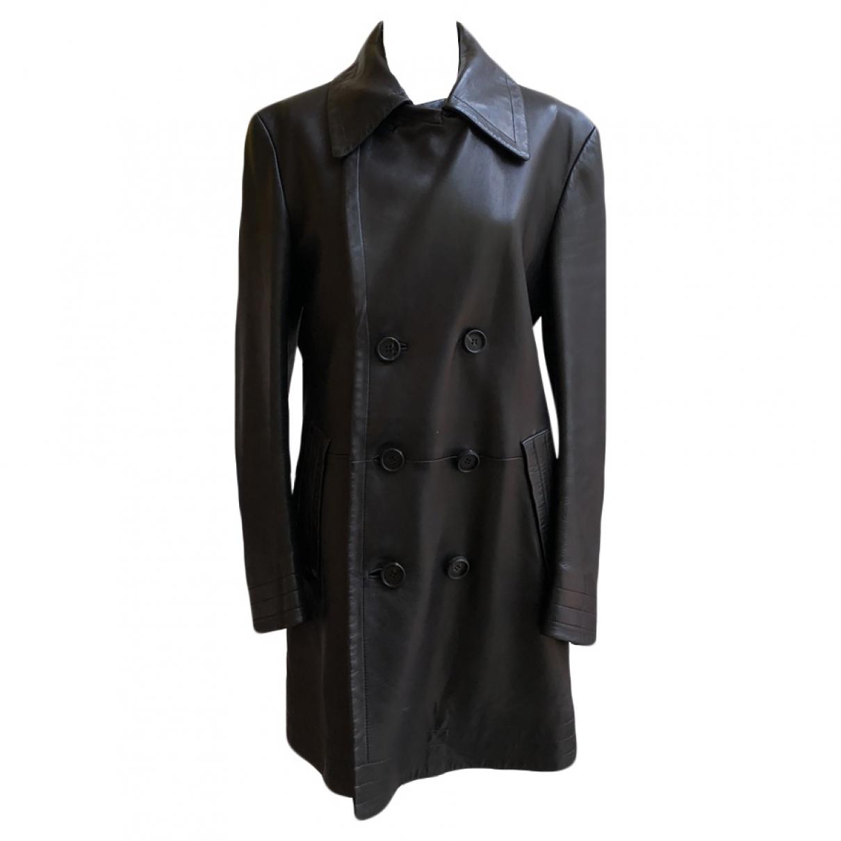 Gucci - Manteau   pour homme en cuir - marron