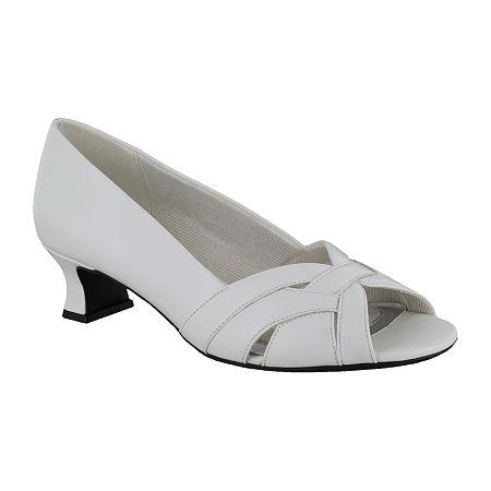 Easy Street Womens Brandy Pumps Spike Heel, 9 Medium, White