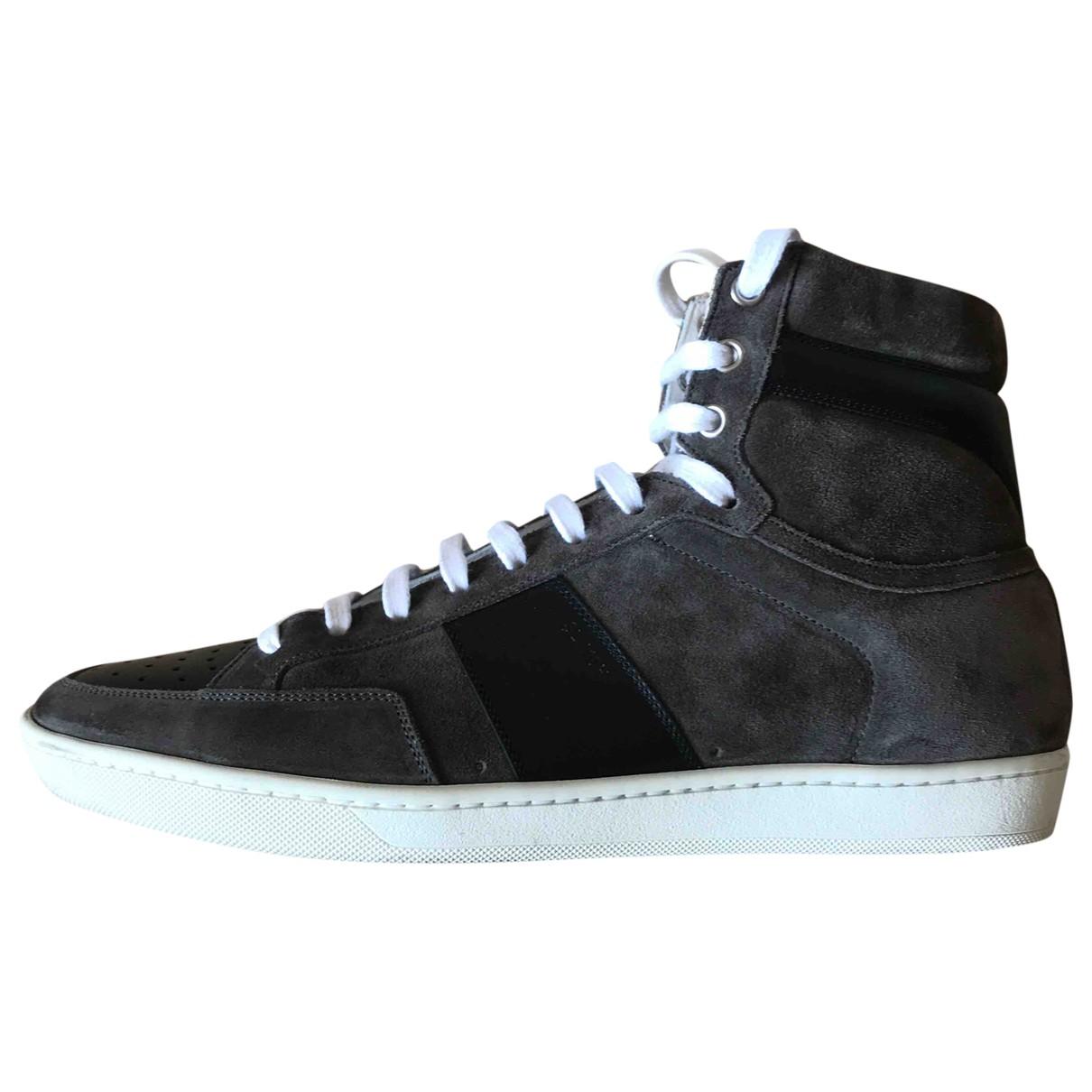 Saint Laurent SL/100H Sneakers in  Grau Veloursleder
