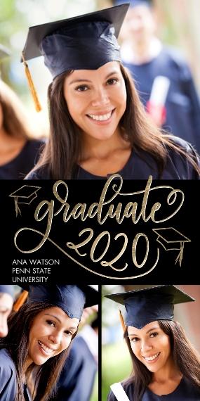 2020 Graduation Announcements 4x8 Flat Card Set, 85lb, Card & Stationery -Graduate 2020 Swirl by Tumbalina