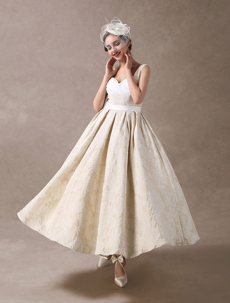 Milanoo Vintage Wedding Dresses Short Champagne Bridal Dress Jacquard Pleated Sweetheart Neck Backless Sash Tea Length Wedding Gowns