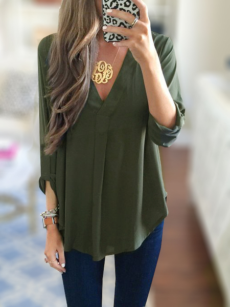 Yoins Army Green V-neck 3/4 Length Sleeves Curved Hem Shirt