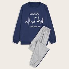 Conjunto de pijama de hombres top con letra y dibujo con pantalones