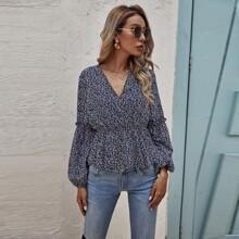 Bluse mit Bluemchen Muster, V-Kragen und Schosschen