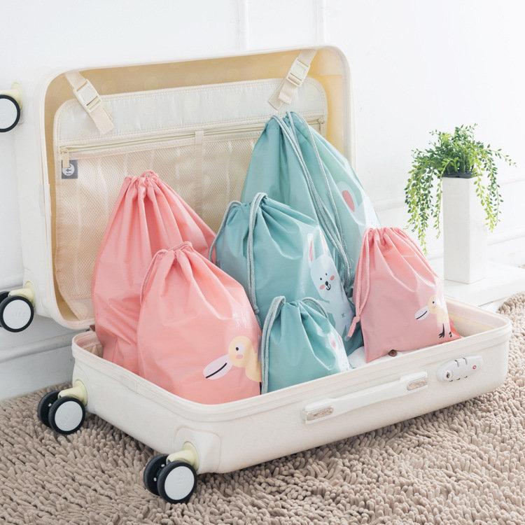 Waterproof Cartoon Animal Print Storage Bag Clothing Toy Drawstring Storage Bag