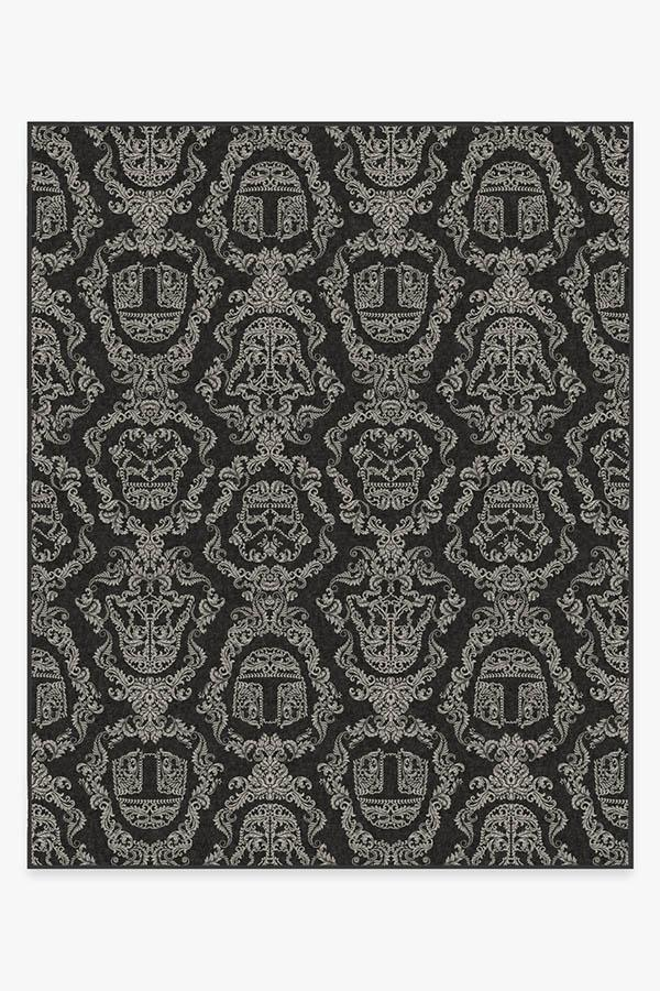 Washable Rug Cover & Pad | Dark Side Damask Charcoal Rug | Stain-Resistant | Ruggable | 8x10