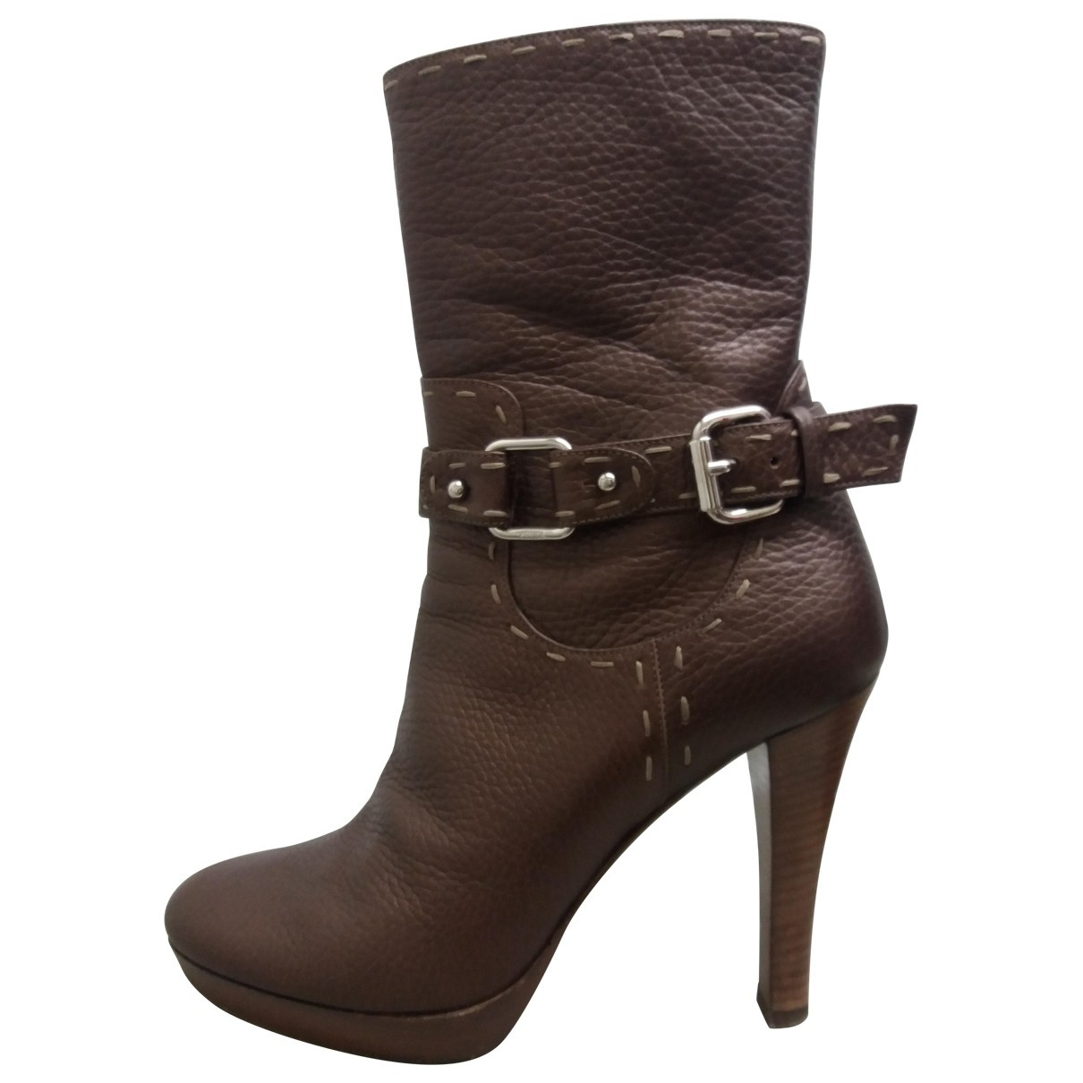 Fendi \N Brown Leather Boots for Women 37 EU