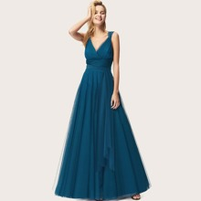 Surplice Neck Tied Empire Waist Mesh Prom Dress