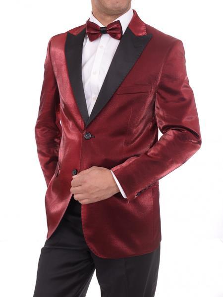Men's Red 2Button Slim Fit Solid Peak Lapel Sharkskin Blazer Sportcoat