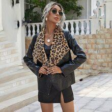 Contrast Leopard Waterfall Collar PU Leather Coat