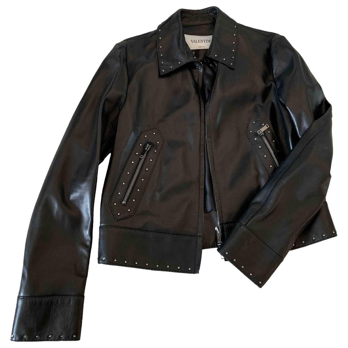 Valentino Garavani \N Black Leather jacket for Women 42 FR