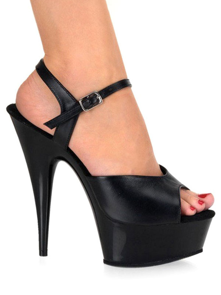Milanoo Women Sexy Sandals Black Platform PU Leather Peep Toe Buckle Detail High Heel Sandal Shoes