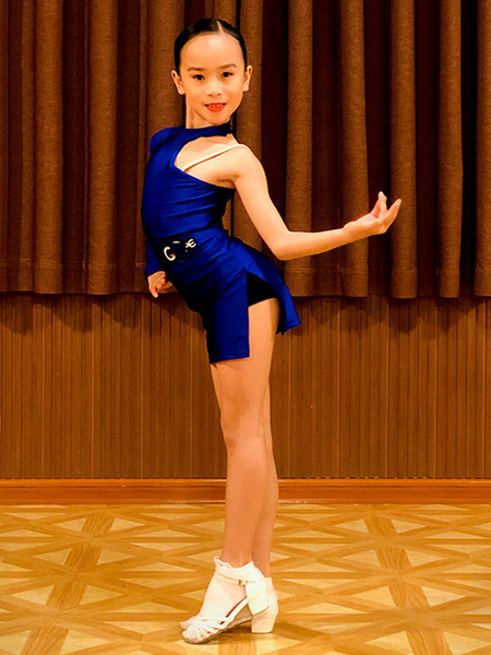 Milanoo Kids Latin Dance Dresses Royal Blue Girls Lycra Spandex Dress Latin Dancing Wear