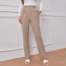 Pantalones Boton Guingan Elegante