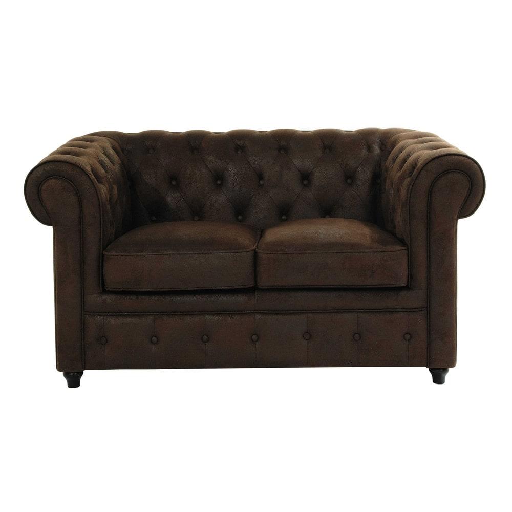 Gestepptes 2-Sitzer-Sofa aus Wildlederimitat, braun Chesterfield