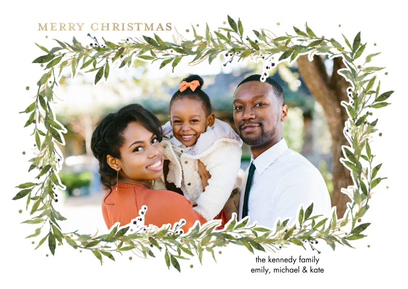 Christmas Photo Cards 5x7 Cards, Standard Cardstock 85lb, Card & Stationery -Christmas Sparkling Foliage by Tumbalina