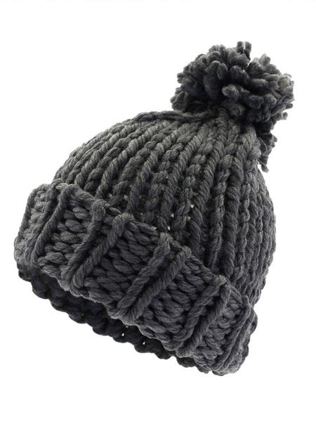Milanoo Men Bobble Hat Pom Pom Chunky Knit Winter Beanie