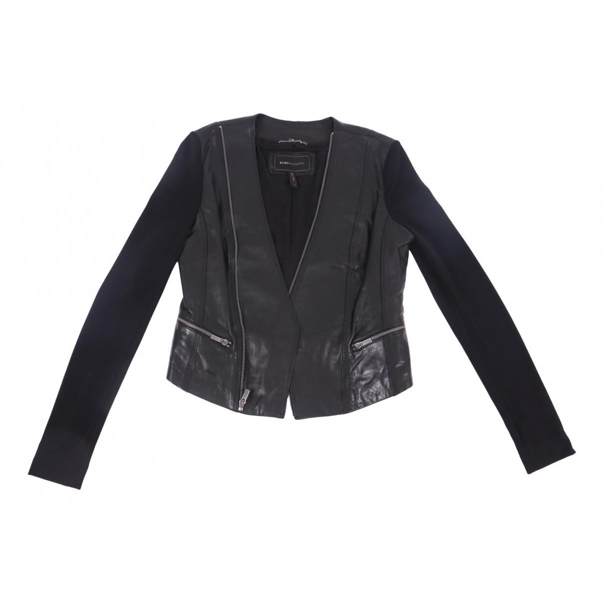 Bcbg Max Azria N Black Leather jacket for Women S International