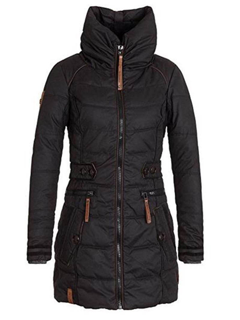 Ericdress Plain Mid-Length High Neck Jacket