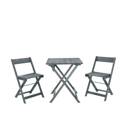 OD14GRYAS01U Rockport Collection 3 PC Square Table Set with Acacia Wood Frame in Grey