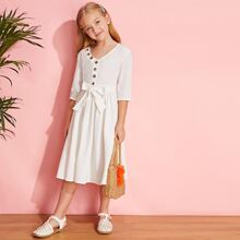 Girls Button Front Belted A-line Dress