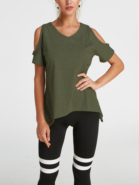 Yoins Army Green Cold Shoulder Irregular Hem T-shirt