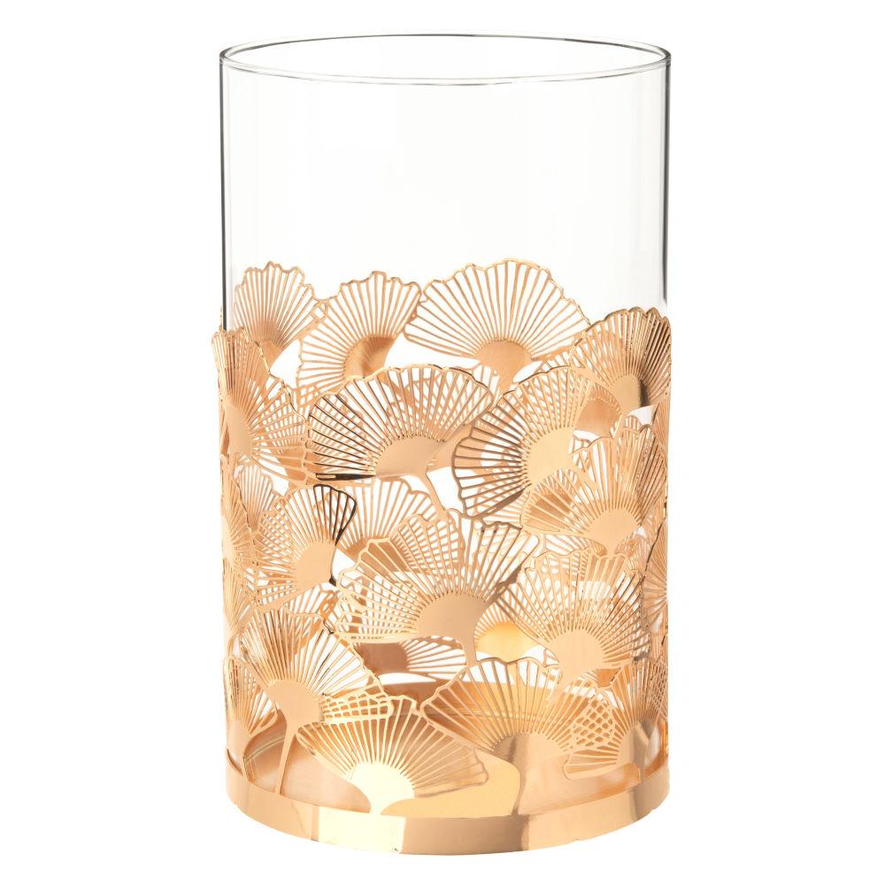 Laterne aus getontem Glas mit Ginkgo-Blaettern aus goldenem Metall