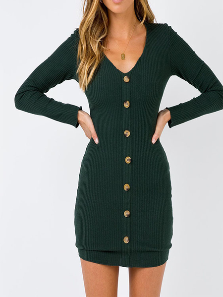 Yoins Green Button Design  V-neck Long Sleeves Dress