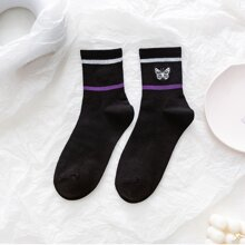 1pair Butterfly Embroidery Socks