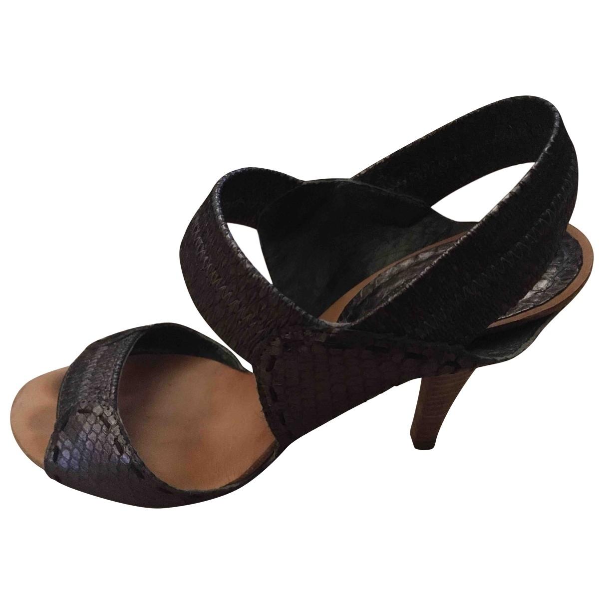 Chloé \N Grey Python Sandals for Women 37.5 EU