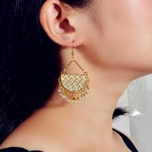 Bohemian Geo Decor Tassel Drop Earrings