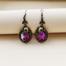 Halloween Gemstone Decor Skull Drop Earrings
