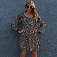 Tie Front Lantern Sleeve Ditsy Floral Dress