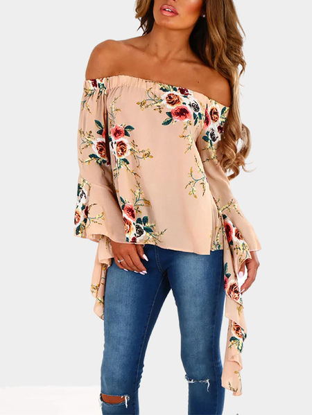 Yoins Nude Off-The-Shoulder Multi Floral Flare Sleeve Top