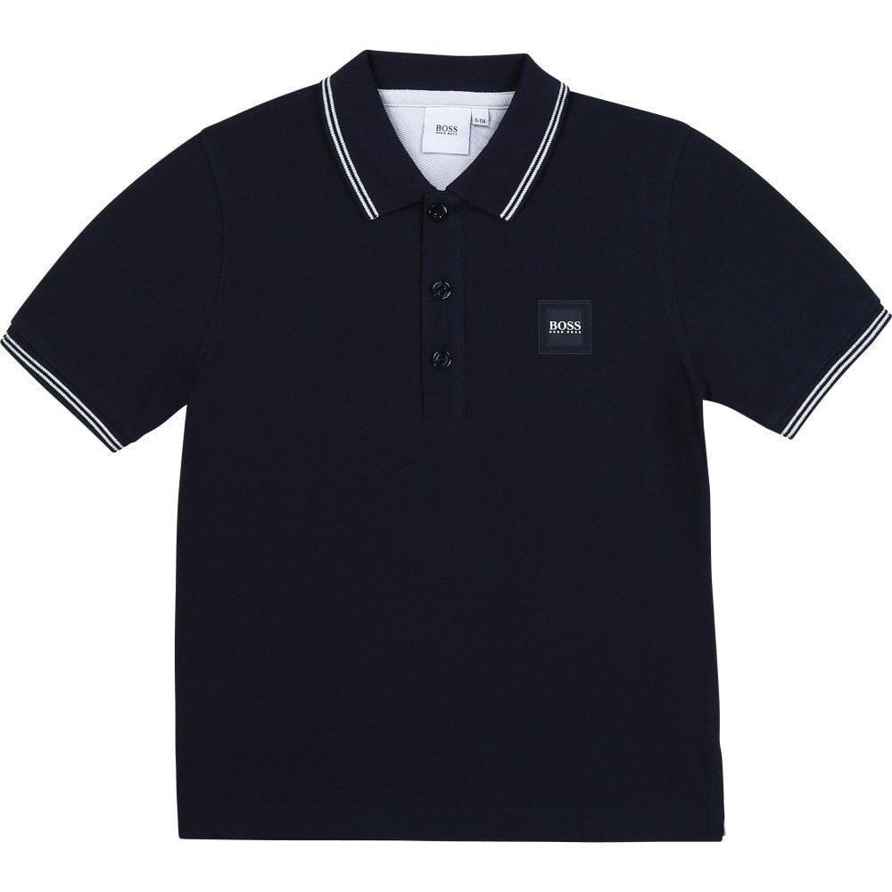 Hugo Boss Pique Polo Shirt Colour: NAVY, Size: 16 YEARS