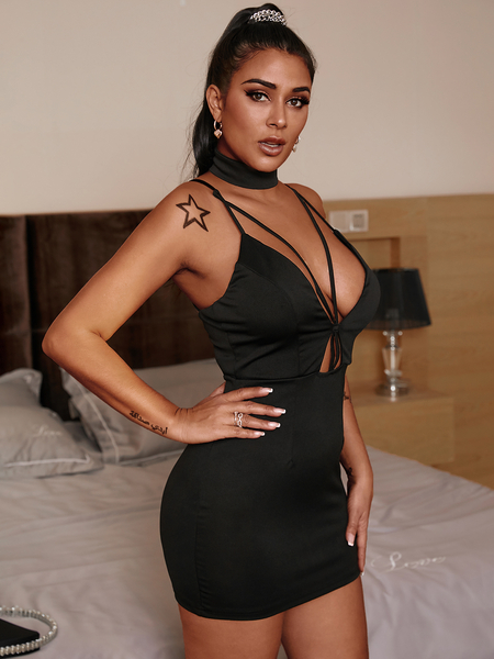 Yoins Black V-neckline Sleeveless Bodycon Mini Dress