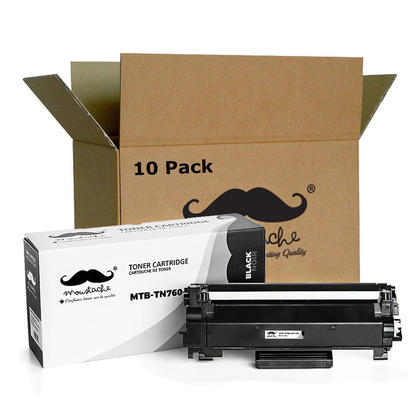 Compatible Brother TN760 Black Toner Cartridge with Chip High Yield by Moustache, 10 Pack
