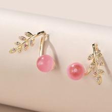 Rhinestone Leaf Decor Stud Earrings