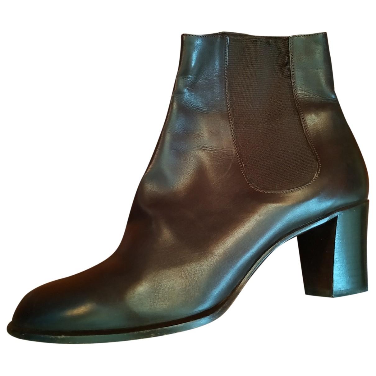 Giorgio Armani - Boots   pour femme en cuir - marron