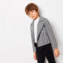Boys Pocket Side Glen Plaid Biker Jacket