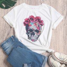 T-Shirt mit Schaedel und Blumen Muster